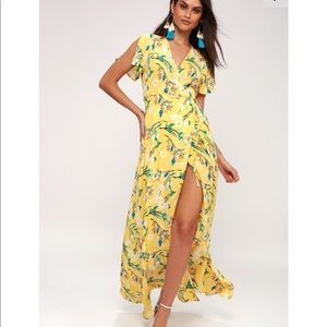 Lulus GARDEN YELLOW FLORAL PRINT WRAP MAXI DRESS